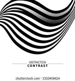 Abstract black and white 3d waves color background with text space. Wavy backdrop composition. Monochrome wave-like drawing. Contrast stripes vector illustration. Minimalistic poster concept