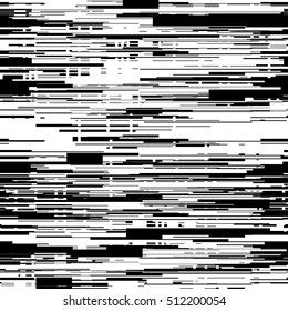 Abstract black and white background with glitch effect, distortion, seamless texture, random horizontal lines. Vector illustration.