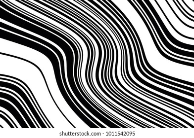 Abstract black and white background with oblique wavy lines. Vector illustration