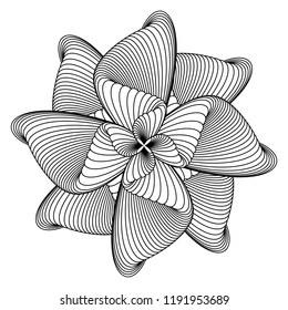 Abstract black and white circular pattern. Geometric pattern with visual distortion effect. Optical illusion. Op art. Guilloche for money, certificates, diplomas.Coloring book