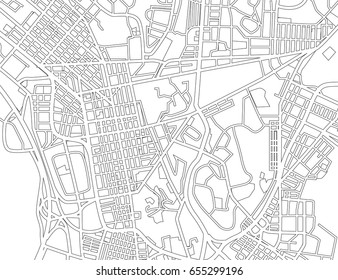 Abstract black and white city map. Vector illustration