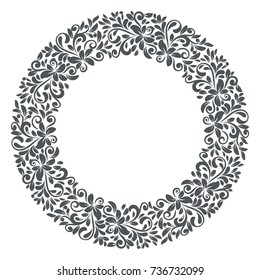 Abstract black and white floral frame vector template. Round ornamental frame for design printing materials.