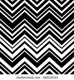 Abstract black and white geometric chevron seamless pattern, vector