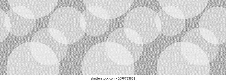 Abstract Black and White Geometric Pattern with Stripes and Circles. Optical Psychedelic Illusion. Panoramic Wicker Structural Texture. Vector Illustration