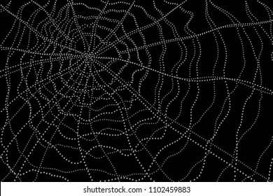 Abstract Black and White Geometric Pattern with Web of Spider. The Halloween Symbol. Wicker Structural Texture. Vector Illustration