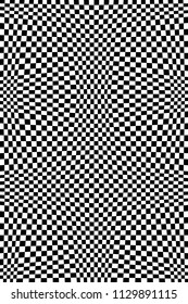 Abstract Black and White Geometric Pattern with Squares. Contrasty Optical Psychedelic Illusion. Chessboard Wicker Structural Texture. Vector Illustration