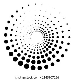 Abstract Black and White Geometric Pattern with Circles. Spiral-like Spotted Tunnel. Contrasty Optical Psychedelic Illusion. Vector Illustration