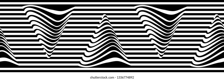 Abstract Black and White Geometric Pattern with Stripes and Waves. Optical Psychedelic Illusion. Wicker Texture with Triangles. Vector. 3D Illustration