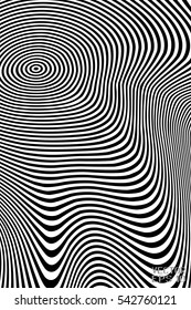 Abstract Black and White Geometric Pattern with Waves. Striped Structural Texture. Vector Illustration