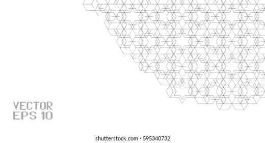 Abstract Black and White Geometric Pattern with Rhombuses. Inclined Cube Structural Texture of Tile Wall. Vector. 3D Illustration