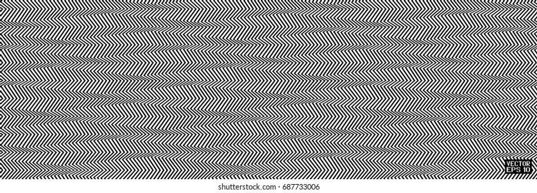 Abstract Black and White Geometric Pattern with Stripes. Optical Psychedelic Illusion. Wicker Structural Texture. Vector Illustration