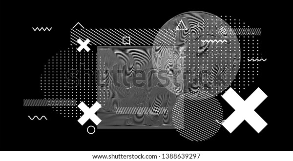 Abstract black and white glitched generative art background with geometric composition. Conceptual sci-fi illustration of high-tech/ cyberpunk technologies of future/ virtual reality.
