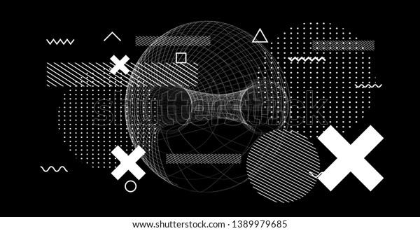 Abstract black and white glitched generative art background with neo-memphis geometric composition. Conceptual illustration of high-tech/ cyberpunk technologies of future/ virtual reality.