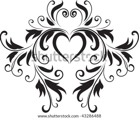 Abstract Black White Heart Design Original Stockvector Rechtenvrij