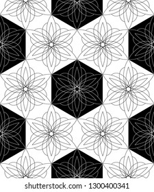 abstract black and white hexagon flowers seamless pattern