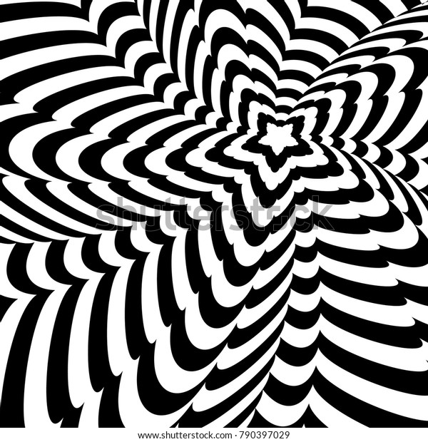 Abstract black and white optical illusion, creative vector twisted background of distorted star