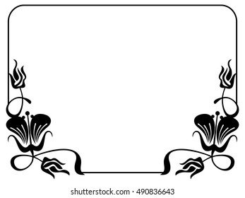Abstract black and white ornament with decorative flowers. Silhouette frame with free space for text, photo or picture. Vector clip art.
