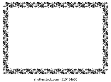 Abstract black and white ornament with decorative flowers. Horizontal silhouette frame with free space for text, photo or picture. Vector clip art.