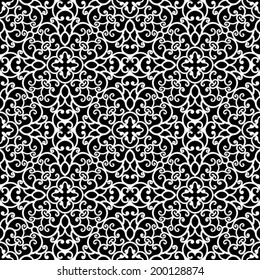 Abstract black and white ornament, lace texture, vector seamless pattern