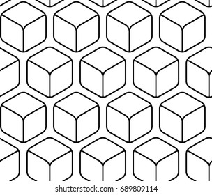 Abstract black and white outline hexagonal seamless pattern
