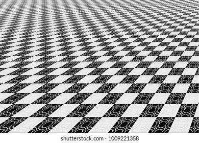 Abstract Black and White Panoramic Geometric Pattern with Circles. Tiled Wall in Chessboard Style. Wicker Structural Texture. Contrasty Optical Psychedelic Illusion. Vector Illustration