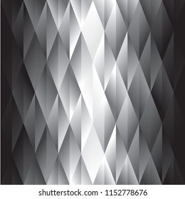 Abstract black and white polygon geometric gradient background with degrade effect. Stock vector illustration, geometry design element.