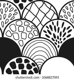 Abstract black and white scales doodle seamless pattern