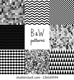 Abstract black and white seamless patterns set, vector