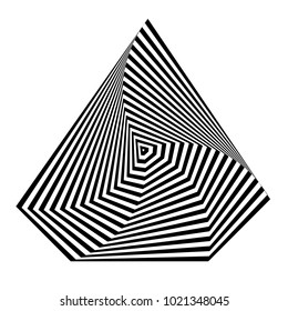 Abstract black and white striped background. Geometric polygonal object with visual distortion effect. Optical illusion. Op art.
