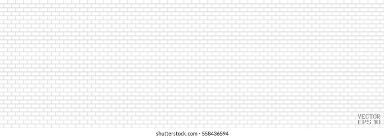 Abstract Black and White Structural Brick Wall. Panoramic Solid Surface. Vector Illustration