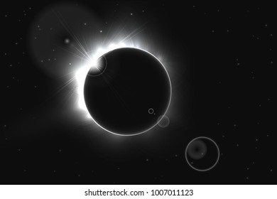 Abstract black and white sun eclipse, vector illustration