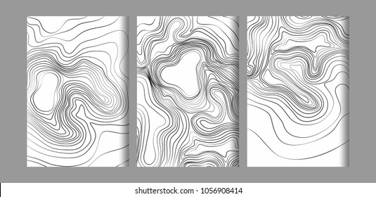 Abstract black and white topographic contours lines of mountains. Topography map art curve drawing design business cards, invitations, gift cards. vector illustration.