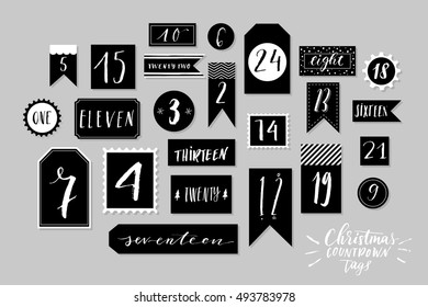 Abstract black and white twenty four christmas countdown printable tags collection. Count down till christmas kit. Advent calendar. Vector illustration
