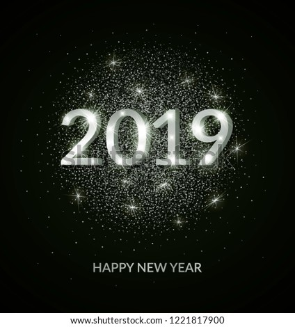 abstract black and white vector happy new year 2019 banner design template advertising logo