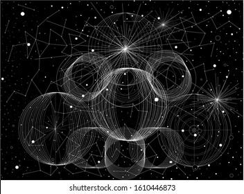 Abstract black and white vector illustration with white circles, lines and dots on black background.
