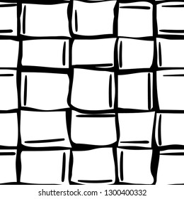 abstract black and white wonky ice cubes seamless pattern