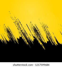 Abstract black and yellow background with grunge tire tracks