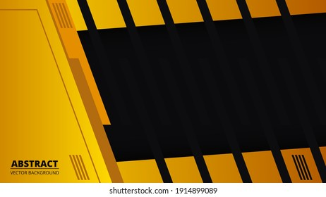 Abstract black and yellow background with orange line on blank space. Futuristic bright modern technology banner. Ratio 1920x1080 full hd, vector illustration.
