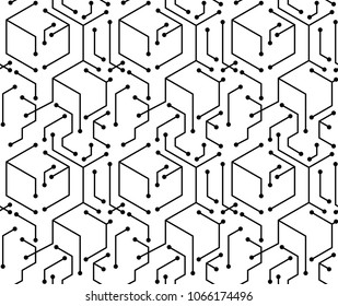 Abstract Block electronic line seamless pattern background vector design