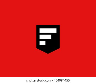 Abstract block letter F logo design template.