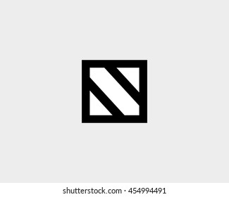 Abstract block letter N logo design template.