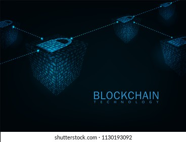 Abstract blockchain technology concept .Isometric digital blocks connection 