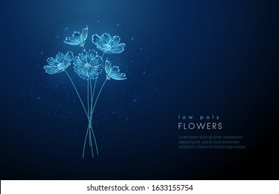 Abstract blooming bouquet of flowers . Low poly style design. Abstract geometric background. Wireframe light connection structure. Modern 3d graphic concept. Isolated vector illustration.