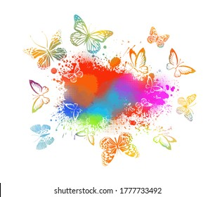 Abstract blot and butterflies. Vector illustration