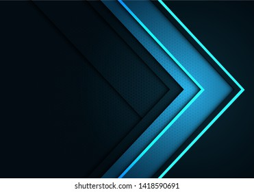 Abstract blue arrow direction on grey with hexagon mesh pattern design modern futuristic background vector illustration.