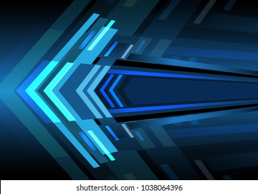 Abstract blue arrow light zoom speed power design modern futuristic background vector illustration.