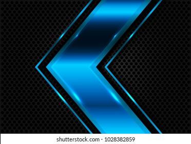 Abstract blue arrow on dark circle mesh design modern futuristic vector illustration.
