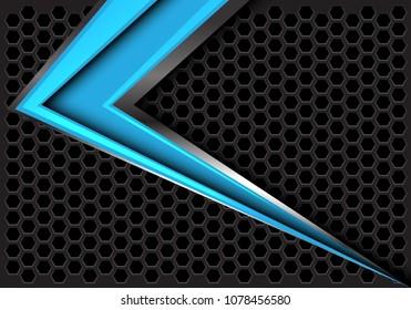 Abstract blue arrow speed on dark gray hexagon mesh design modern futuristic background vector illustration.
