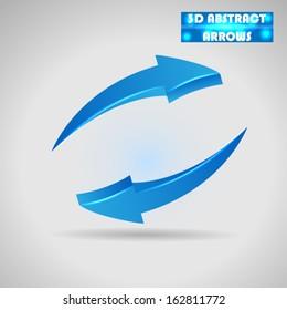 abstract blue arrows 3d vector