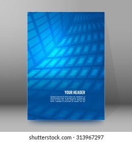 Abstract blue background advertising brochure design elements. Glowing light mosaic graphic form for elegant flyer. Vector illustration EPS 10 for booklet layout page, leaflet template, newsletters